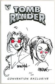 Lara Croft Double Shot #1 Signed Remarked Sketch x2 Jay Company COA Tomb Raider Movie
